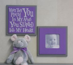 Purple Gray Baby Nursery Wall Decor  Set of 2  by NelsonsGifts, $29.90