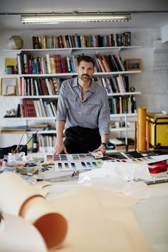 "Patrick Grant at his Wapping cutting desk - ""Meet Patrick Grant, the man at the forefront of fashion - GQ.co.uk"""