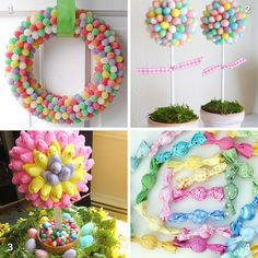 DIY easter candy decorations - I can't wait to try the gumdrop wreath! So cute!