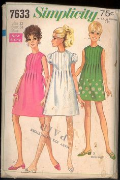 1960s Size 12 Bust 34 Front Tucks Baby Doll Dress Simplicity
