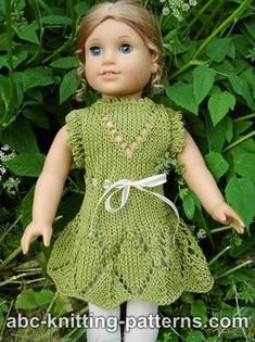 Free pattern to knit an cute summer dress for American Girl and similar soft-body 18 inch dolls. Thanks Elaine!