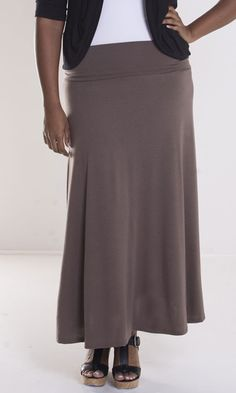 Fold over waistband allows you to adjust the fit of this plus size maxi skirt. Super soft and comfy to wear all day. Sizes 1x-6x (14-36) at swakdesigns.com