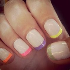 GET THE LOOK! Purchase our NEON French Manicure Shellac Set!     This 3-Piece Pack of MagicManicure LED UV Gel Polish is only $49    It comes with a nude colour and 2x neon colours to do neon tips