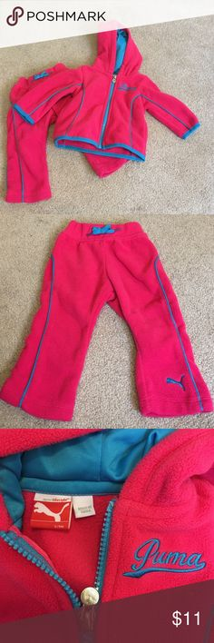 Puma Fleece Hoodie and Pants Set - sz 6-9 mo Fun and cozy hot pink Puma tracksuit with bright turquoise piping detail.  Keep your little girl nice and cozy while you are out for a neighborhood stroll or doing errands. In GUC! Your baby it will look so cute and sweet and this set 😇 no trades! Offers always considered! Questions? Ask away! Puma Matching Sets