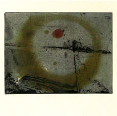 Abstract Etching in Ochre and Black by Anne-Marie Yee, Australia
