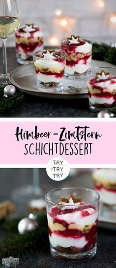 Raspberry Zimtstern layer Himbeer-Zimtstern-Schichtdessert Raspberry and cinnamon star layered dessert // Dessert for Christmas // Christmas layered dessert // Dessert for Christmas Eve // ​​Recipe for Christmas layered dessert - Layered Desserts, Mini Desserts, Fall Desserts, Health Desserts, Christmas Desserts, Christmas Christmas, Christmas Truffles, Cinnamon Desserts, Christmas Recipes