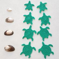Hand crocheted sea turtle to hang as tag, charm in embellishments or to use as applique patches in your craft projects. Lovely sea animal ornament for your beach themed decorations. The price is for a bulk of 5 (five) pieces of sea turtles. Please select your desired quantity and