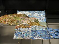 Glory days for Italian textile art at the #OEQC in Veldhoven! Once again, Daniela and Marco (Damss Fiberart) amazed the public with their 24 x 2,5 mt artwork representing the Cinque Terre landscapes. Aurifil threads inside.  Cinque Terre art ;)