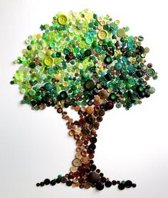 Spectacular Rainbow Button Art by Karen Hurley