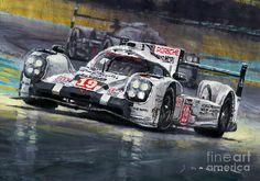 Acrilic Painting - 2015 Le Mans 24 Lmp1 Winner Porsche 919 Hybrid Bamber Tandy Hulkenberg by Yuriy Shevchuk