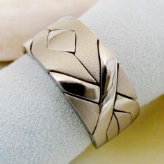 (SOLIDER MATTE) Unique Puzzle Rings by PuzzleRingMaker - 925 Silver - Any Size