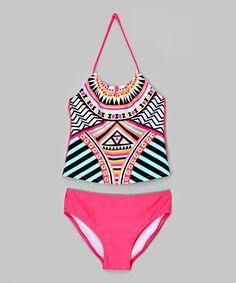 Look at this #zulilyfind! Pink & Black Geometric Tankini - Girls by Jantzen #zulilyfinds