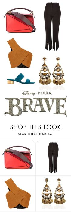 """""""Loewe puzzle"""" by fashionstar-334 on Polyvore featuring Loewe, Topshop, Rosetta Getty and Salvatore Ferragamo"""