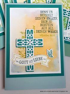 """Kommunionkarten mit """"Hoffe und glaube"""" und """"Kreuz der Hoffnung"""" Stampin' Up! www.eris-kreativwerkstatt.blogspot.de"""