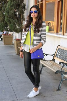 Converse sneakers + Leather Pants + Striped Zara Blazer
