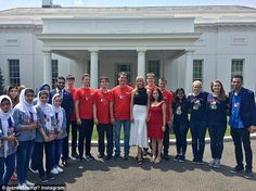 Always on duty: Ivanka met with the winners of the FIRST Robotics Competition, Team Hungary, and Team Afghanistan and Team USA, who came second and third