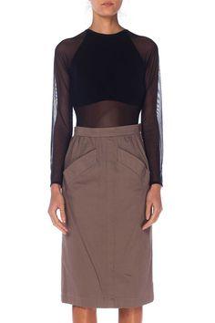 5133e05ea19 Yves Saint Laurent Cotton Pencil Skirt