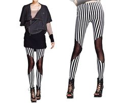 Vertical Stripe Black and White Leggings by Addmein on Etsy, $17.99