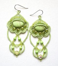Orchid Green Beaded Tatting Lace Chandelier Style ♥ by KnotTherapy, $28.00