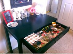 Great organizing idea and I like how the table can be used as a vanity