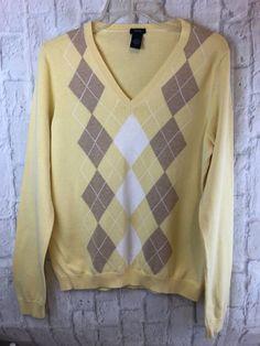 e87f9986f76ac IZOD Yellow Argyle V Neck Long Sleeve Sweater Size Large