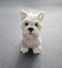 1/12 Scale Hand-Sculpted Westie in Polymer Clay