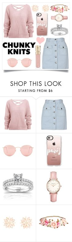 """Get Cozy: Chunky Knits"" by lizabeth-rose ❤ liked on Polyvore featuring MINKPINK, Ray-Ban, Casetify, Annello, Topshop, Charlotte Russe and Smith & Cult"