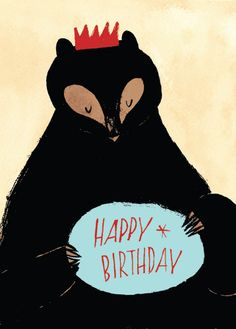 happy birthday, birthday card, party hat, bear illustration, drawing, art, print