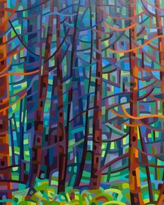 Abstract landscape painting of a pine forest by Mandy Budan. I like her technique