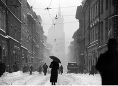 Floriańska Street in Kraków covered in snow, taken in 1936 during the Interwar period, Poland [OS] Interwar Period, Invasion Of Poland, Krakow, World War Ii, High Quality Images, Bing Images, Fashion Photography, Germany, Snow