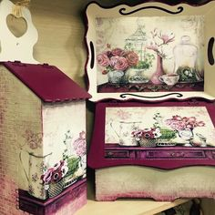 Alıntıdır Napkin Decoupage, Decoupage Paper, Wood Crafts, Diy And Crafts, Wooden Painting, Tea Box, Painted Boxes, Diy Projects To Try, Plates On Wall
