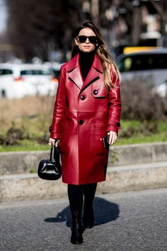 Red Leather - The Street Style at Milan Fashion Week Was Seriously Chic - Photos