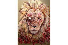 Leão - Sophie Standing Art   Sophie Standing Arte   arte têxtil bordado da África