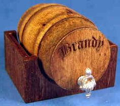 Wine keg on holder - brandy - $15.00 : S P MINIATURES - hand crafted dollhouse miniatures, S P MINIATURES - shop online for hand crafted dollhouse miniatures from many artisans and countries