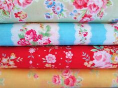 Shabby Chic Green and Pink Roses Fat Quarter Bundle
