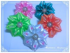 Воздушные цветы из лент для школы, канзаши МК - YouTube