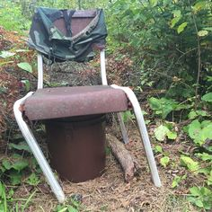 """A """"bucket list"""" geocache (if you don't mind the pun) for many geocachers in Minnesota. Alvin's Phone Line! Minnesota's oldest, active geocache. It's been sitting here, under this chair, in this bucket since 11/05/2000. #Geocaching"""