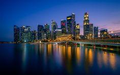 Indir duvar kağıdı Singapur, ufuk çizgisi, Gökdelenler, gece, Fort Canning Park, Marina Bay