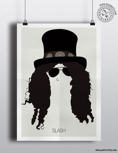 Slash (Guns N Roses) Minimalist Music Icons Poster by Posteritty #MinimalistHair…