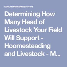 Determining How Many Head of Livestock Your Field Will Support - Hoomesteading and Livestock - MOTHER EARTH NEWS
