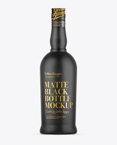 Matte Black Bottle Mockup. Preview