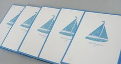 Hand Stamped Sailboat Thank You Stationery Note Card Set of Five   Laurascrafts - Paper/Books on ArtFire