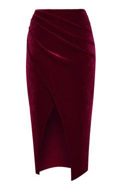 Draped Velvet Midi Skirt by Rasario Velvet Midi Skirt, Pleated Midi Skirt, Look Street Style, Look Fashion, Fashion Design, Velvet Fashion, Classy Dress, Skirt Outfits, Fashion Dresses