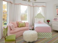 pink, green, white, fur, girls room