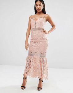 Love Triangle | Love Triangle Cami Strap Long Length Midi Lace Dress | $98