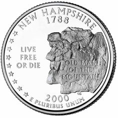 """The design on the 2000 New Hampshire State Quarter has the distinction of being the only quarter in this series whose design no longer exists. The """"Old Man in the Mountain"""" or """"The Great Stone Face"""" as it was also called, collapsed on May 3, 2003."""