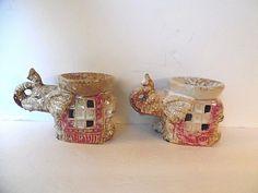 Two Ceramic Elephant Oil Wax Melt Incense Burners