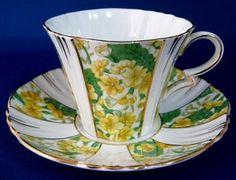 Cup And Saucer Royal Albert Panels Yellow Primroses