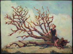 """Woman and Fallen Tree 18"""" x 24"""""""