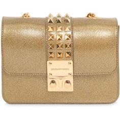Designinverso Women Amalfi Studded Glitter Pvc Shoulder Bag (795 BRL) ❤ liked on Polyvore featuring bags, handbags, shoulder bags, bolsas, purses, clutches, gold, beige purse, glitter shoulder bag and chain shoulder bag